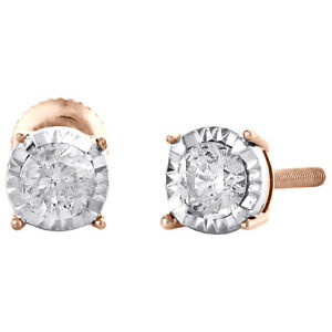 10K Rose Gold Round Cut Diamond 4 Prong Stud 4.75mm Miracle Set Earrings 1/3 CT.