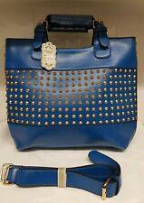 Womens  Handbags Faux Leather Fashion Studded Tote Blue Handbags Large Handbags