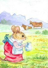 ACEO PRINT OF WATERCOLOR PAINTING RYTA MOUSE MILK COW FARM TEA SPRING FOLK ART