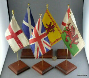6 x Small Vintage Flags of the UNITED KINGDOM - C1960s/70s