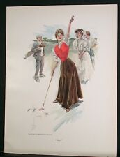 1907 HARRISON FISHER COLOR PRINT - WOMEN GOLFING
