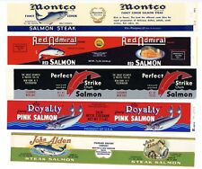 Set Of Five Salmon Can Labels, 019