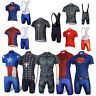 Maschi The Avengers superhéroes Iron Man larga Ciclismo Jersey+Pants Bib Shorts