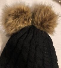 Urban Outfitters Black Cable Knit Beanie Hat w/ two Faux Fur Foxy Pom Poms!