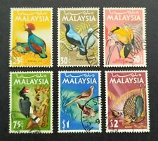 1965 Malaysia Birds Definitive 25c - $2 Stamps 6v Used (Post Mark varies)