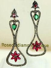 2.66ct Silver Emerald Ruby Dangle Earrings Latest Repro Antique Rose Cut Diamond