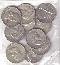 US $5.00 FACE FRANKLIN SILVER HALF-DOLLARS - TEN (10) COINS TOTAL!