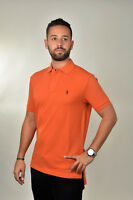 New Polo Ralph Lauren Orange Cotton Mesh Polo Shirt Classic Fit Sz S SMALL