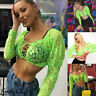 US Sexy Women Summer V-neck Long Sleeve Lace Up Bandage Blouse T-Shirt Crop Tops
