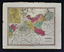 1840 Henry Tanner Map - Prussia Germany Poland Berlin Danzig Potsdam Konigsburg