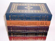 Easton Press Signed PERCY JACKSON & THE OLYMPIANS by Rick Riordan 5 vols
