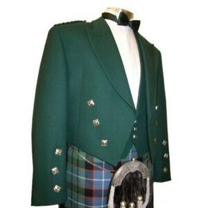 Ex Hire 100% Wool Prince Charlie Kilt Jacket & Waistcoat Green, V GOOD CONDITION