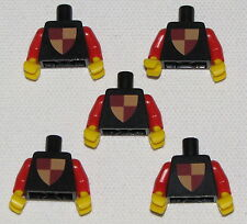 LEGO LOT OF 5 RARE RED VINTAGE CLASSIC KNIGHT TORSOS SHIELD PATTERN