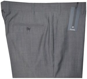 $395 NEW ZANELLA PARKER SLIM FIT GRAY TWILL SUPER 120'S WOOL MENS DRESS PANTS 36
