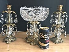 Vintage Brass & Crystal Prisms Centerpiece Bowl Compote Dish W/ Candle Holders
