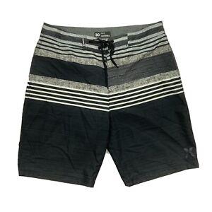 Men's Hurley Phantom Swim Surf Board Stretch Shorts 30w 9 Inseam Black/Gray