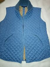 J. McLaughlin Zip Up Vest Equestrian Quilted Blue Brown Size Small