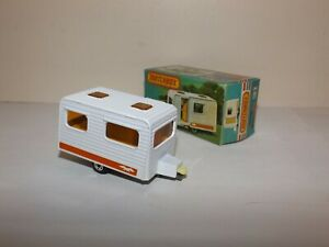 MATCHBOX S/F NO.31-C CARAVAN CAMPING TRAILER WHITE, ORANGE DOOR & LABEL MIB