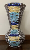 Vintage SCHEURICH KERAMIK Vase Blue 664-22 West German Pottery Fat Lava 8 3/4""