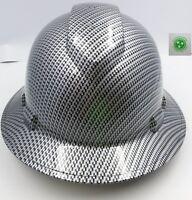 FULL BRIM Hard Hat custom hydro dipped BLACK METAL CARBON FIBER SICK RAIDERS