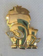 VINTAGE LION AND CUB RHINESTONE GOLD TONE PIN RETRO FUN FASHION