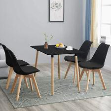Conjunto de Comedor Tower con Mesa lacada Negro y 4 sillas, de diseño nórdico