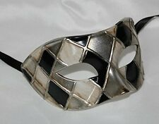 QUALITY BLACK & ANTIQUE SILVER/GOLD HARLEQUIN VENETIAN MASQUERADE PARTY EYE MASK