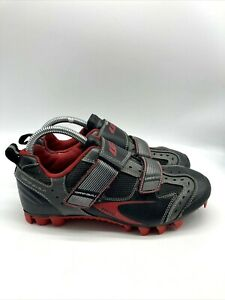 Louis Garneau Mens Road Cycling Bicycle Strap Shoes Black Red Size 7 EU 40