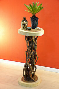 Side Table Plant Stand Acacia Wood Flower Stand Solid Wood Night Table Nature