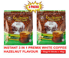 Old Town White Coffee Instant 3 in 1 Fragrant Hazelnut 15 sachet x 40g x 2 Bags