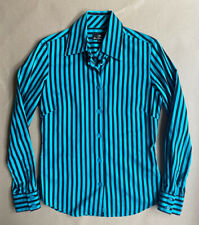 Ben Sherman size small UK 10 cotton tailored shirt blue turquoise striped mod
