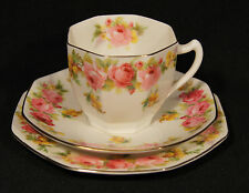 C1931 ROYAL DOULTON TRIO ROSES & WATTLE OCTAGONAL SHAPED ALMOST UNUSED H.3609.