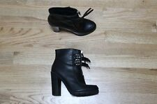 STRADIVARIUS BLACK LEATHER ANKLE BOOTS SIZE 36 EURO 6 US