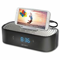 Groov-e TimeCurve Alarm Clock Radio with USB Charging Station Black (GVSP406BK)