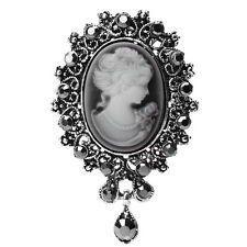 Vintage Cameo Victorian Crystal Wedding Party Women Pendant Brooch Pin Jewelry