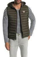 NWT $135 GUESS Men's Light Weight Puffer Vest with Hood Olive Size L / Large