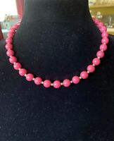 "Vintage Monet Bright Raspberry Pink And Gold Tone Necklace 18"" Lobster Claw"