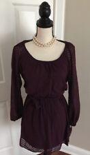 SPEECHLESS Plum Long Sleeve Dress Junior's Size Small Textured Chevron NWT $48