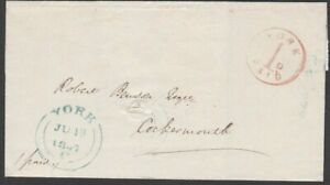 """1847 WRAPPER """"YORK / 1D / PAID"""" UNIFORM PENNY POST H/S TO COCKERMOUTH. UPP."""