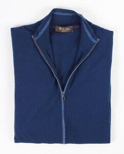 $1450 - LORO PIANA Cashmere Full Zip Lightweight Sweater - Blue - 50 M