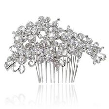Bridal Wedding Clear Austrian Crystal Flower Hair Clip Comb Head Piece Silver