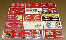 15 TIN CAN LABELS VINTAGE SALMON ALASKAN CANADA PORTLAND SEATTLE MINT 1940-70