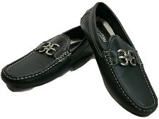 Giovanni Mens Black Leather Loafer Driving Moccasins s SZ 8