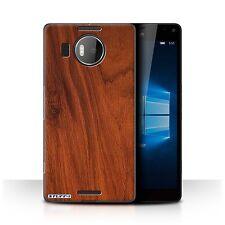 STUFF4 Case/Cover for Microsoft Lumia 950 XL/Wood Grain Effect/Pattern/Mahogany