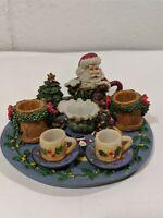 Miniature Christmas Tree Santa Resin Tea Set