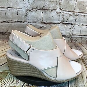 Clarks Lafley Alaine Nude Brushed Leather Open Toe Wedges Sandals Size 6 M