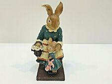 """Unbranded MS BUNNY & BABY BUNNY W/TEDDY Resin 5"""" Tall Blue Dress Easter"""