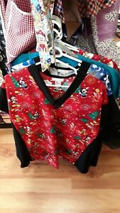 Scrub-Top Red Christmas  Mickey Mouse &  Friends. Brand New. Size: M