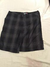 QUICKSILVER EDITON MENS BLACK PLAID CASUALSHORTS SZ 36