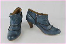 Bottines Boots TEXTO Cuir Bleu T 36 TBE